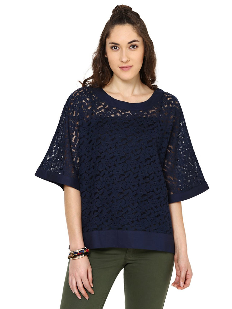 Loom Tree Blue Lace Top With Bell Sleevs
