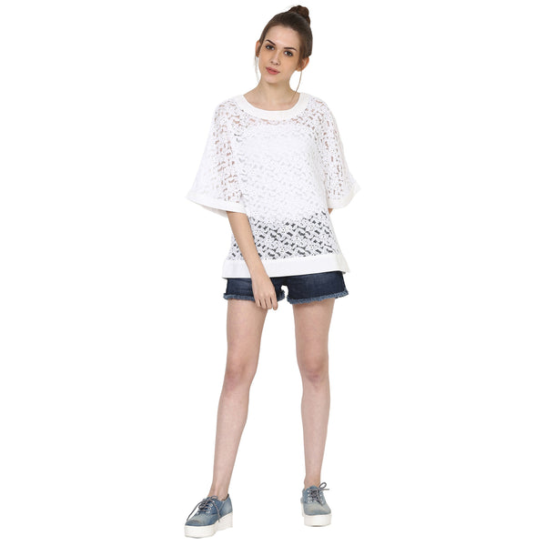 Bell Sleeve White Lace Top