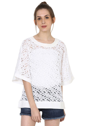 White Lace top with bell sleevs and wide neck ,hem bands