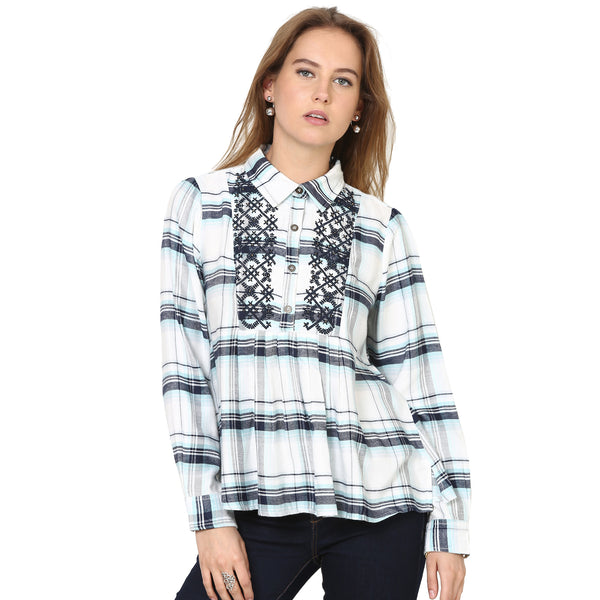 Alexis Plaid Shirt with Beaded Embroidery Detail