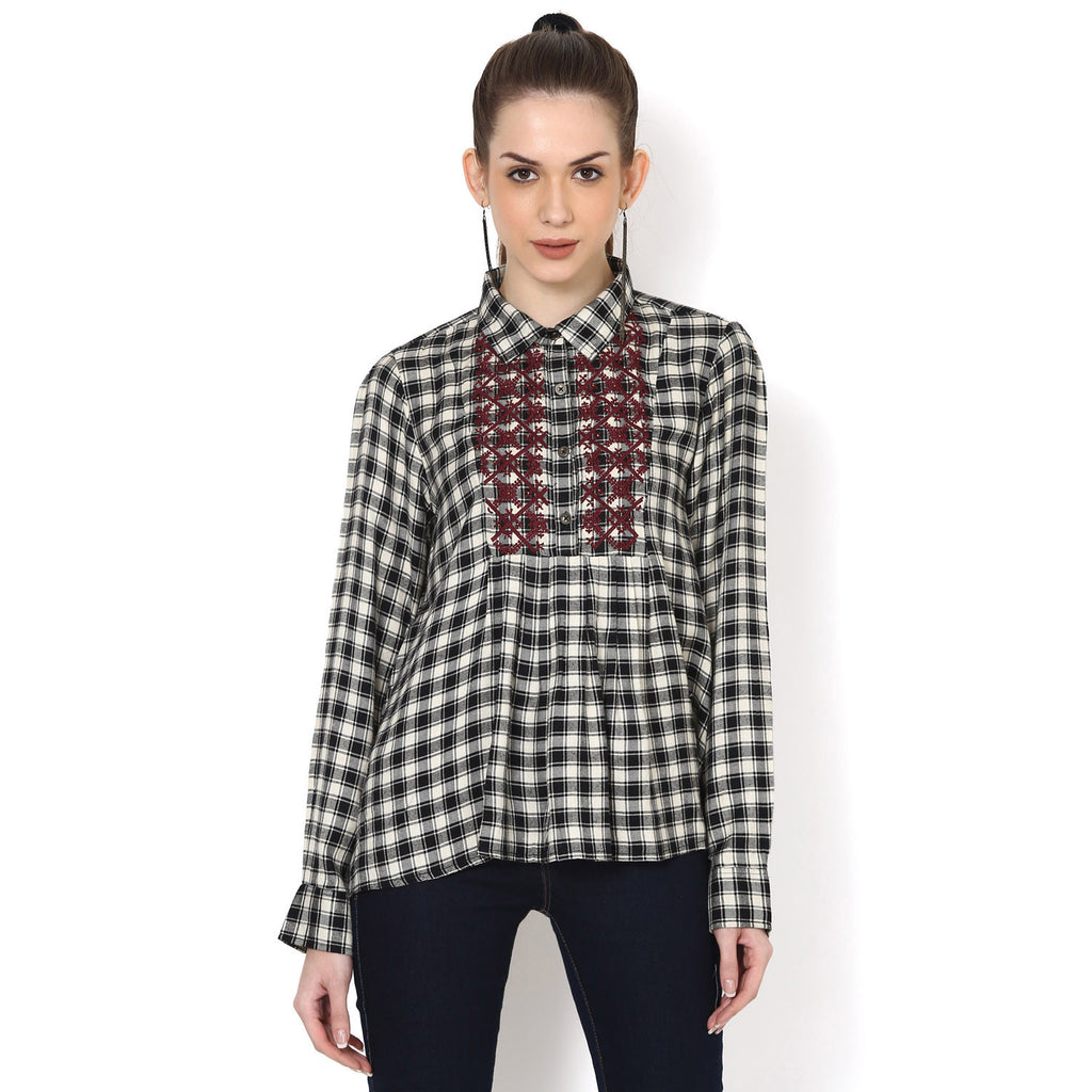 Black and off white Yarndyed Plaid Shirt