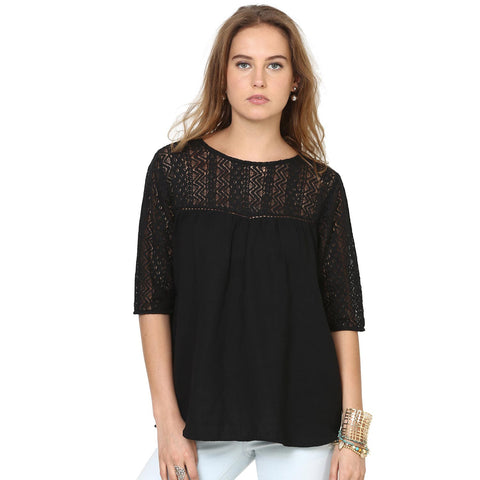 Keren Swing Top With Criss-Cross  Neck Detail