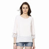 Pleated Top With Lace Detailed Sleeve Hems