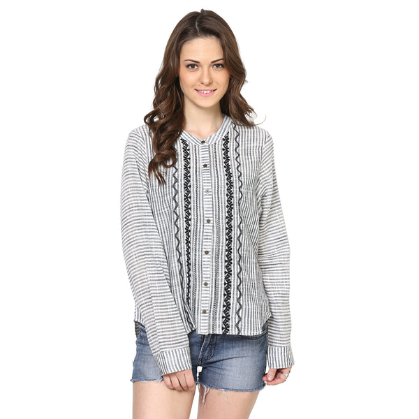 Xenia Striped Shirt with Tribal Embroidery
