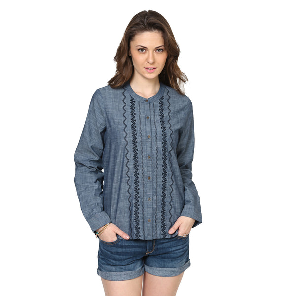 Jessica Chambray Shirt with Geometrical Embroidery
