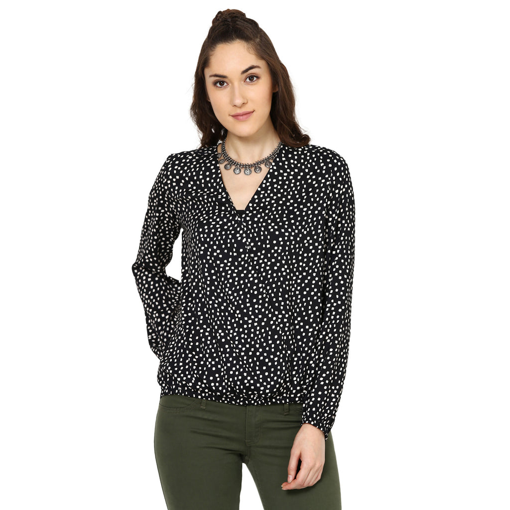 Kiran Printed Wrap over blouson Top