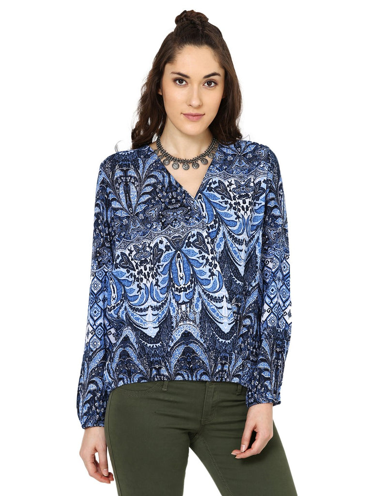 Loom Tree Foliage Print Wrap Over Blouson Top