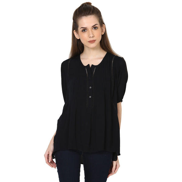 Lace inset Top with short sleeves