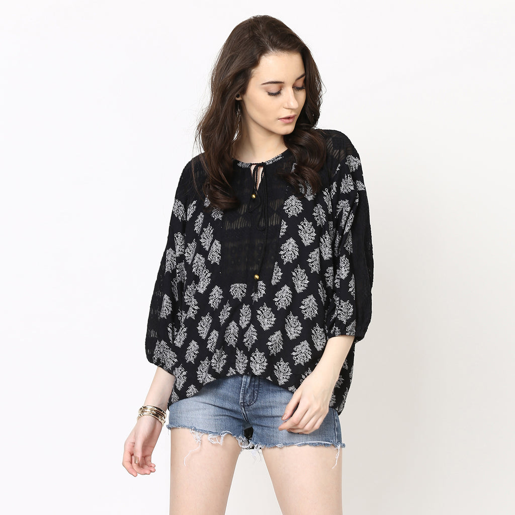 Boho Tassel Detail Lace Top