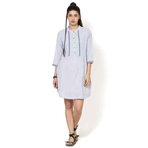 Kriti Blue And White Embroidered Dress