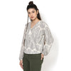 Scarlett Printed Wrap blouson top
