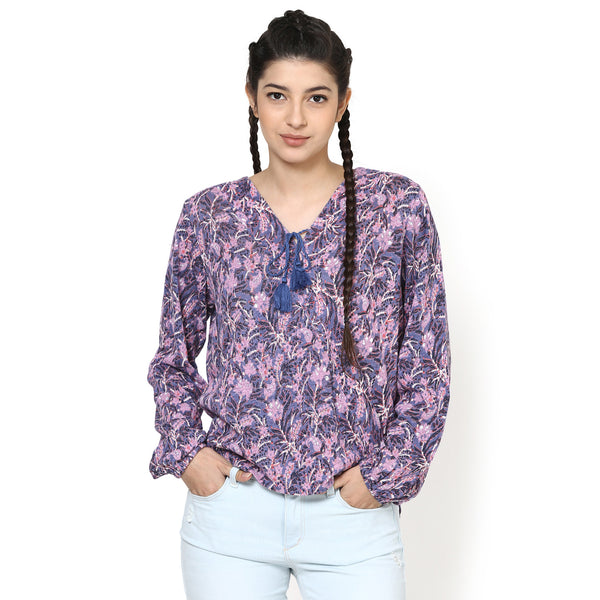 Emily Printed Wrap blouson top