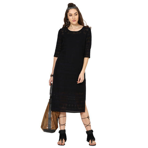 Zoe Lace Shift Dress with Side Slits