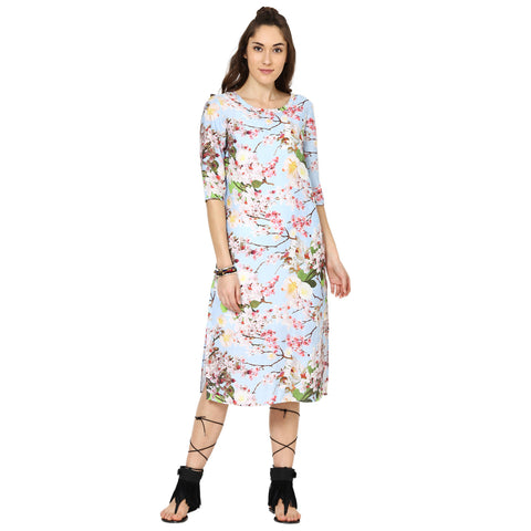 Angelina Floral Printed Shift Dress with Side Slits