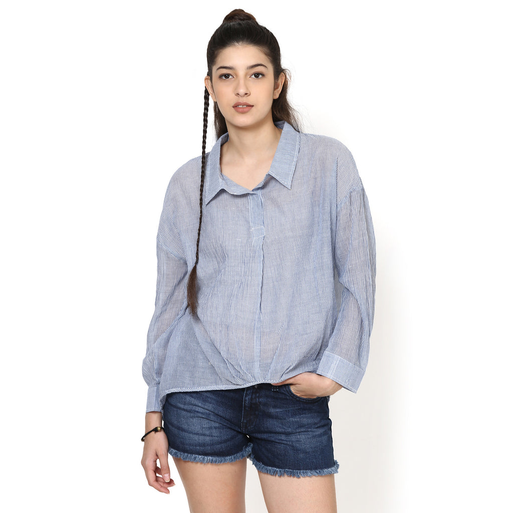 Princera Blue Drop Shoulder Casual Shirt