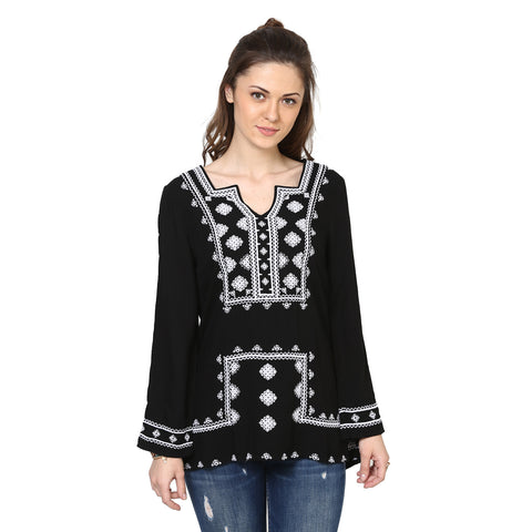 Bianca Peasant Top with Aztek Embroidery