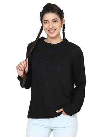 Loom Tree Black Sleeved Top