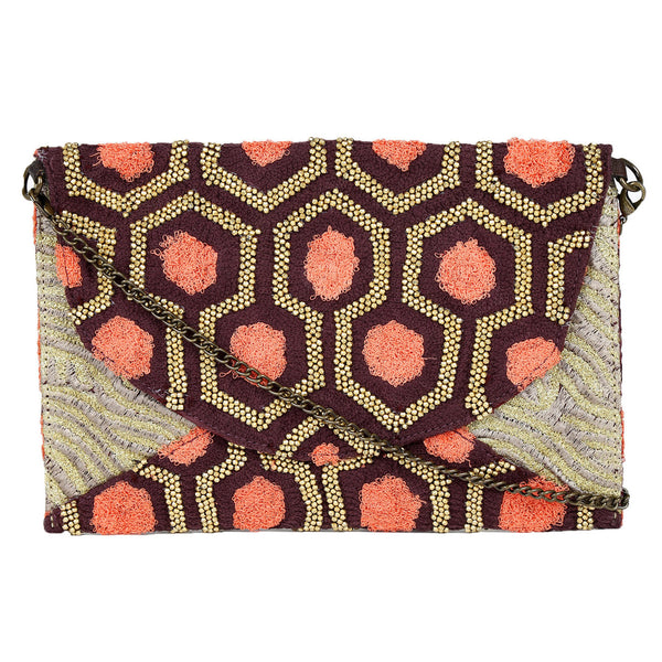 Kaamna Beaded Hexagonal Clutch