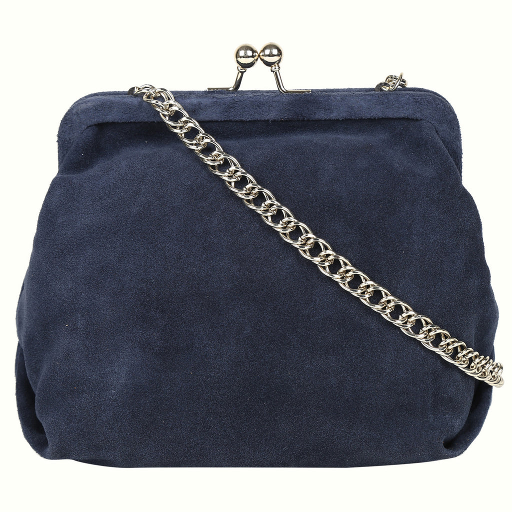 Silvia Blue Clutch with Golden Details