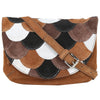 Brown Cross Body Bag with Fish Scales Design