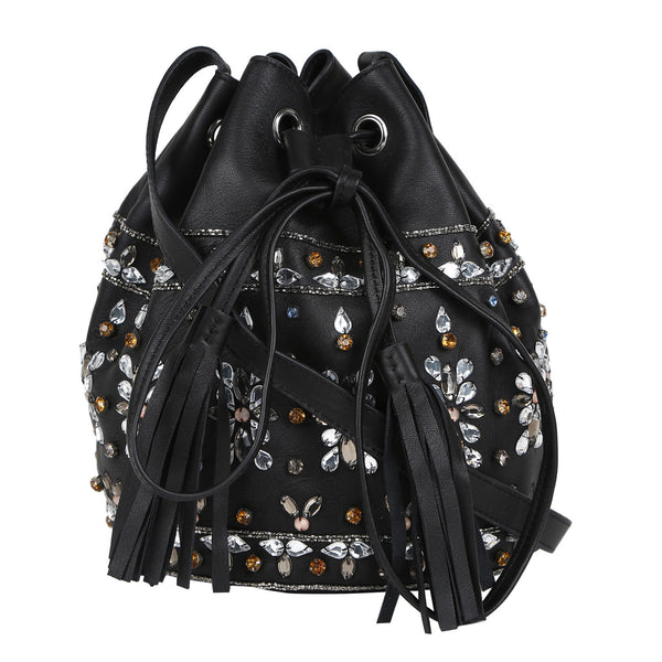 Arie Black Embellished Bag with Fringes