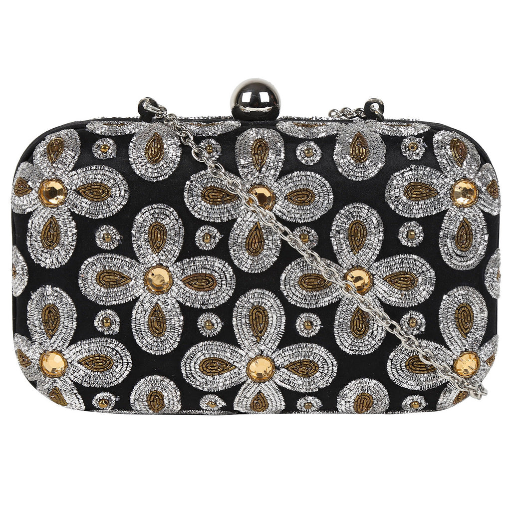 Black Zardozi embellished Clutch