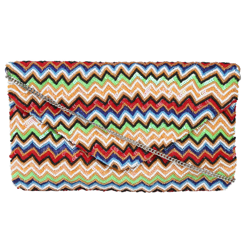 Multicolor Zig Zag Pattern Clutch