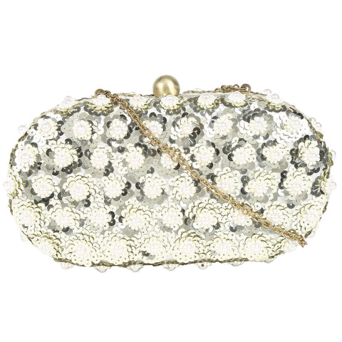 Embellished Sequin Pearl flower Tasselated Clutch