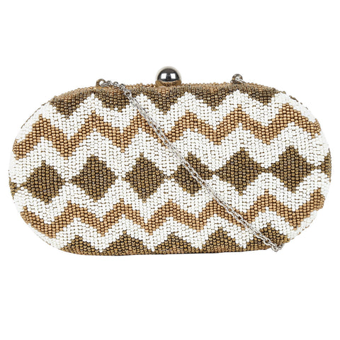 Beaded Zig zig Pattern Clutch Box
