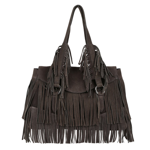 Black Fringed Bag
