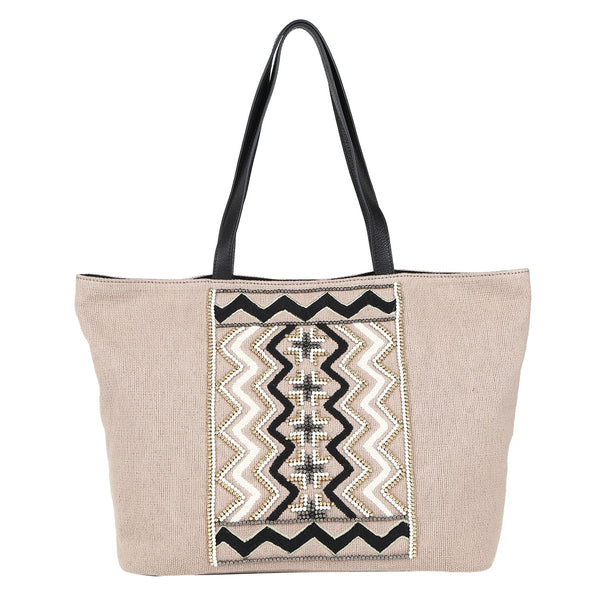 Canvas Beaded Tote Bag
