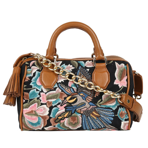 Birds Embroidered Chain Sling  Bag