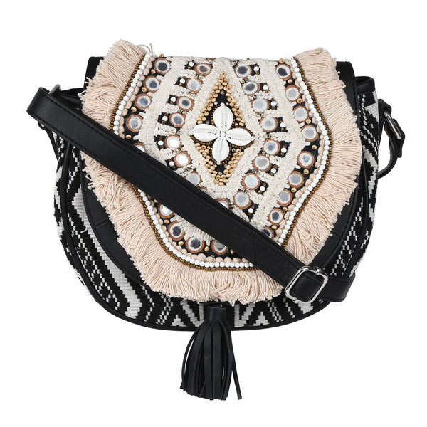 Bohemian Embroidered Flap Sling Bag