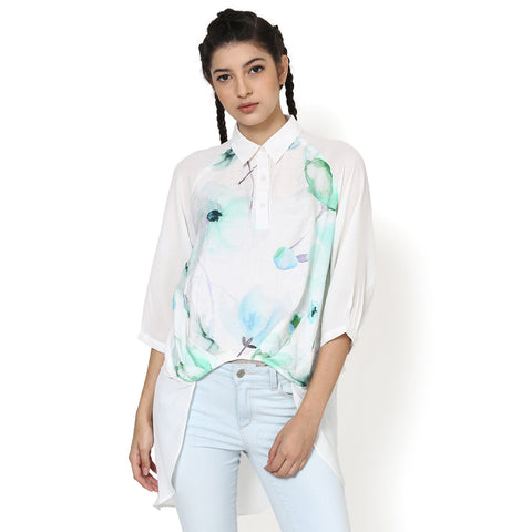 Sneha White Asymmetric Layered Top