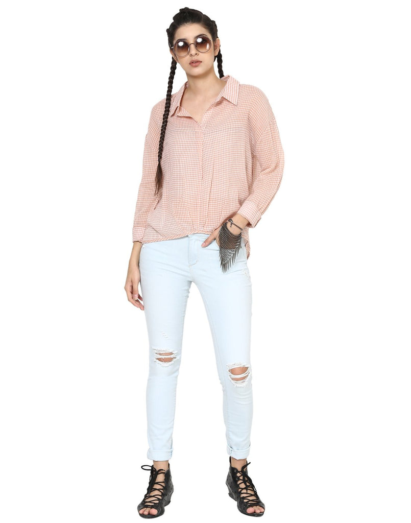 Loom Tree Peach Drop Shoulder Casual Shirt