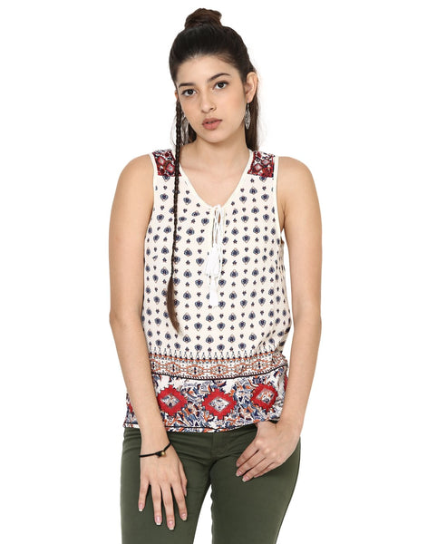 Loom Tree Printed Peasant Top