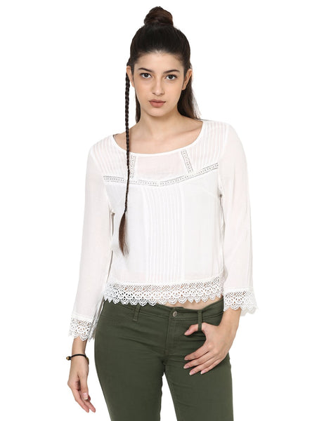 Loom Tree White Sleeved Top