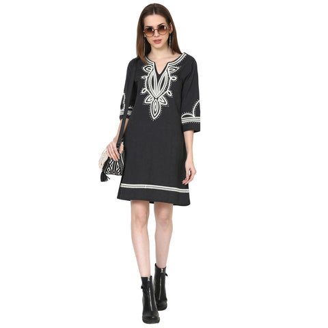 Black Embroidered and Panelled Dress