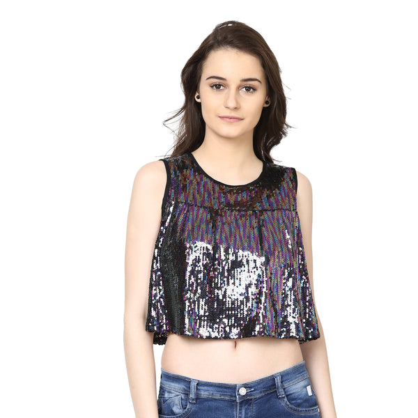 Loom Tree Sequined Crop Top