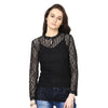 Loom Tree High Neck Lace Top With Scallop Detail