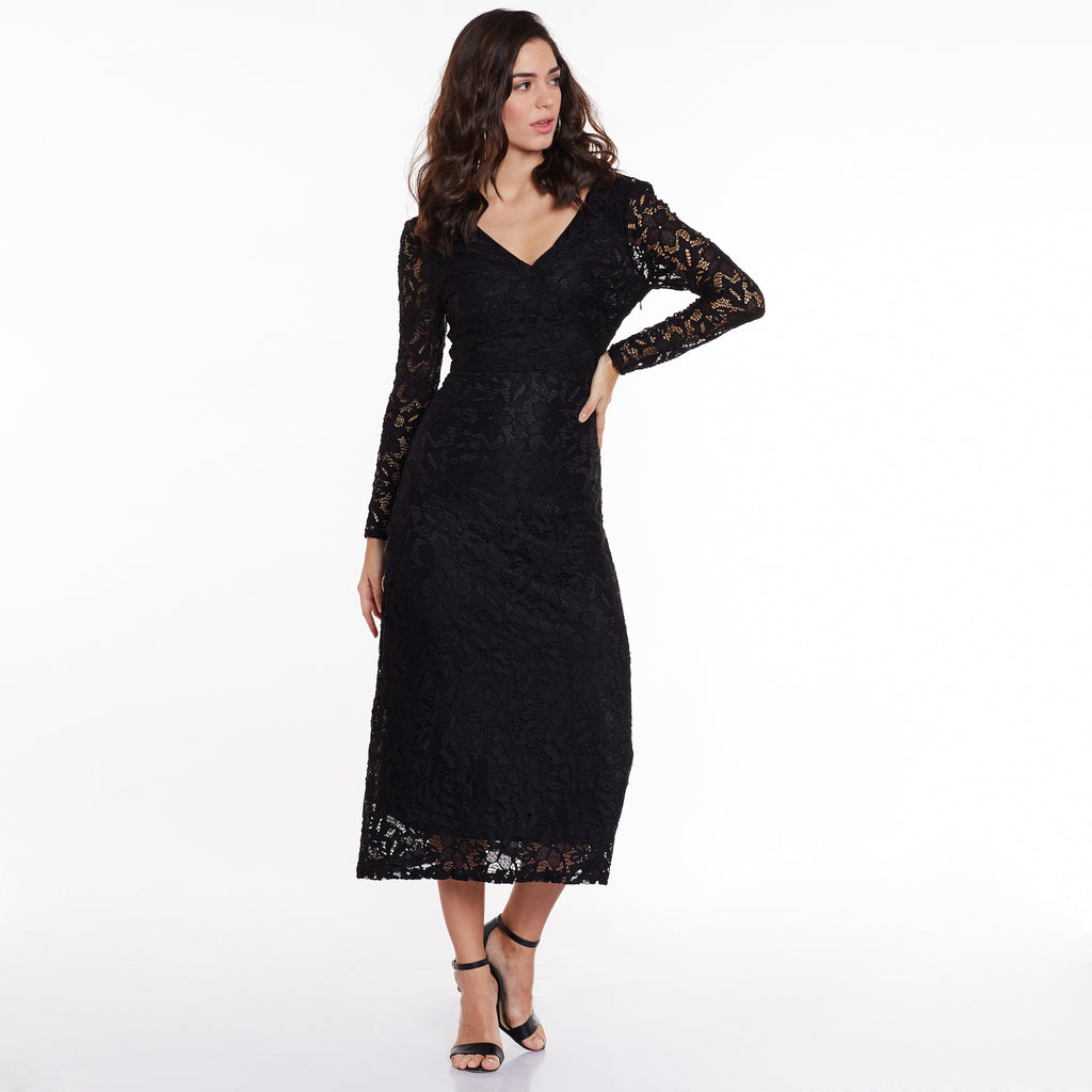 Lara Black Lace Maxi Dress