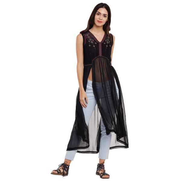 Loom Tree Embroidered Sheer Maxi Cover Up