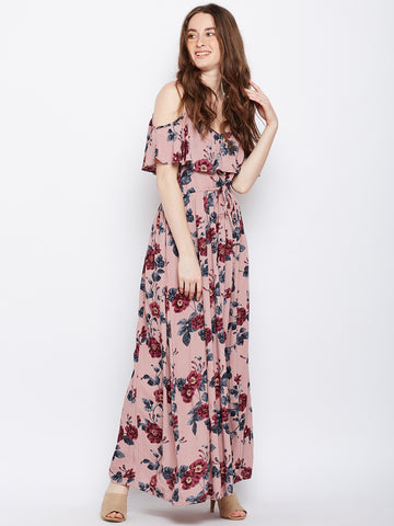 Cold Shoulder Ruffle Maxi Dress