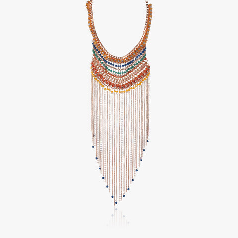 Achla Drop Tassel Thread and Chain Necklace