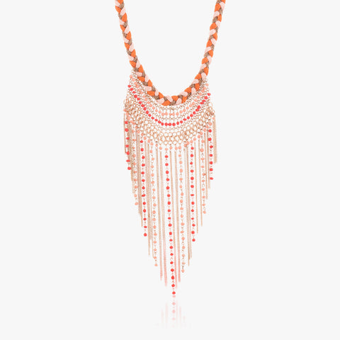 Addis Drop Tassel Necklace with Braided Collar
