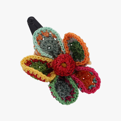 Emanti Hand Knitted Flower Hair Clip
