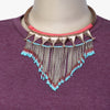 Monpa Braided Leather Necklace with Metal Chain Tassels
