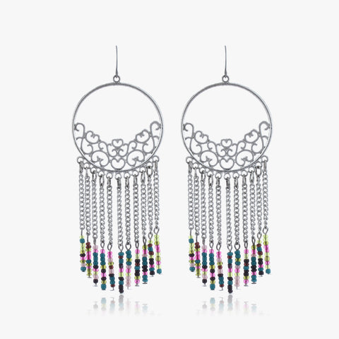 Chahna Beaded Tassel Drop Earrings