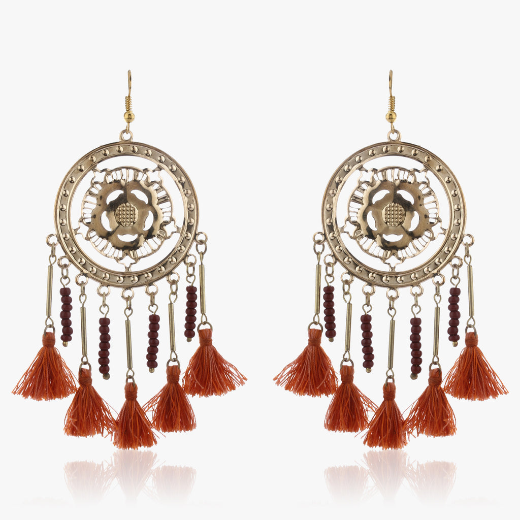 Ekila Circular Drop Earrings with Tassels