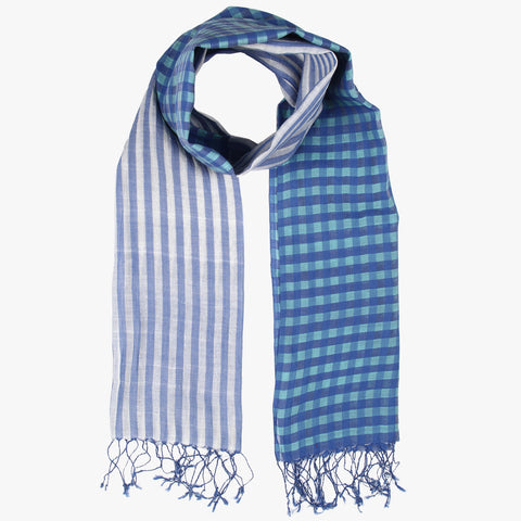 Vachya Handwoven Stripes and Checks Stole